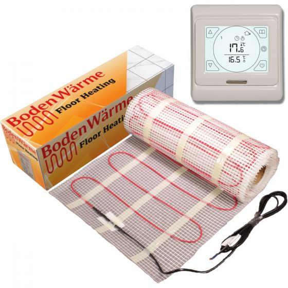 Electric Underfloor Heating Mat 1m² 150w / m² + Touch Screen Thermostat