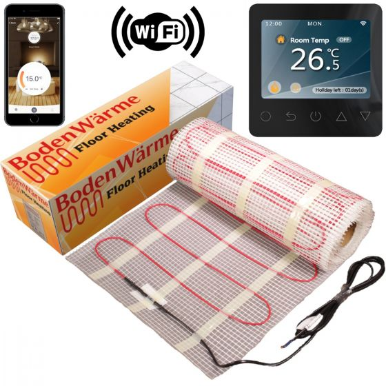 Underfloor Heating Mat 14m² + White WiFi Thermostat 150w / m² (10² mat + 4m² mat)