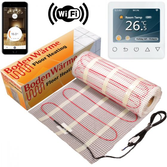 Electric Underfloor Heating Mat 150w / m² + White Wifi Thermostat