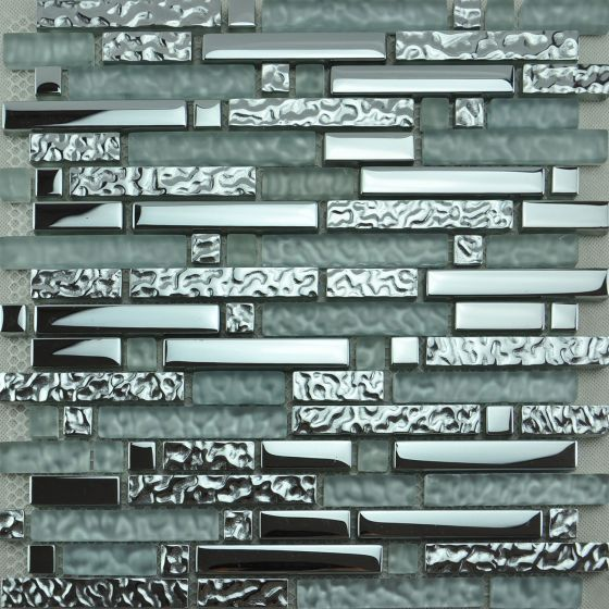 Glass Mosaic Tile | Silver Random Brick Effect