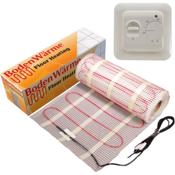 Electric Underfloor Heating Mat + Manual Thermostat 150w / m²