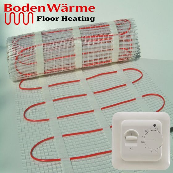 Electric Underfloor Heating Mat + Manual Thermostat 200w / m²