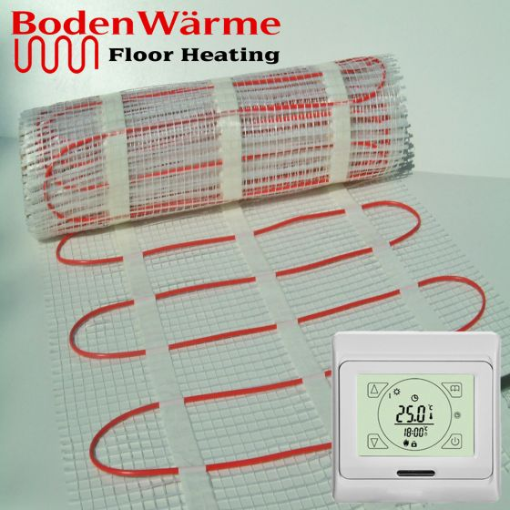 Electric Underfloor Heating Mat + Touch Screen Thermostat 200w / m²