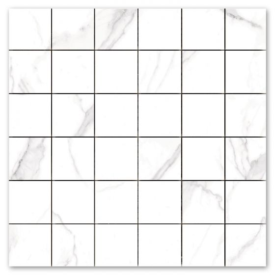 White Marble Effect Matt Porcelain Mosaic Tile